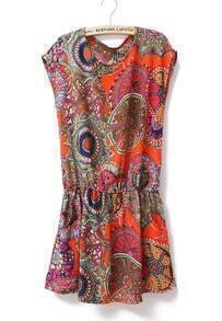 Paisley Print Round Neck Sleeveless Waist Dress Orange