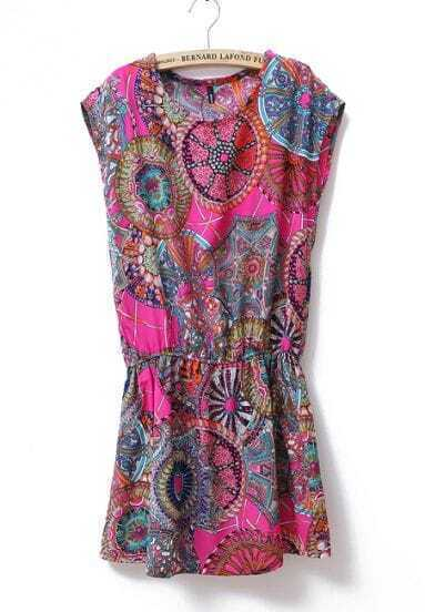 Paisley Print Round Neck Sleeveless Waist Dress Red