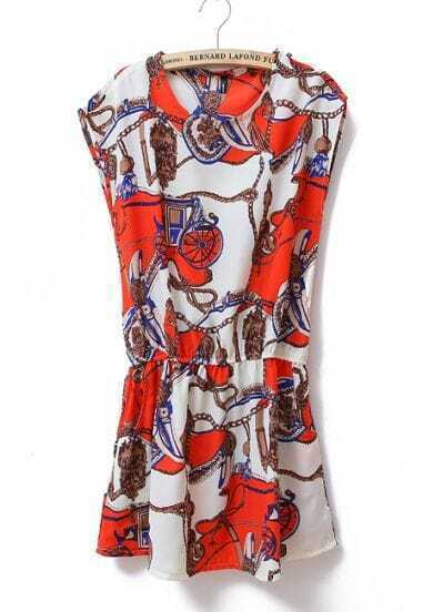 Printed Round Neck Sleeveless Waist Dress Beige