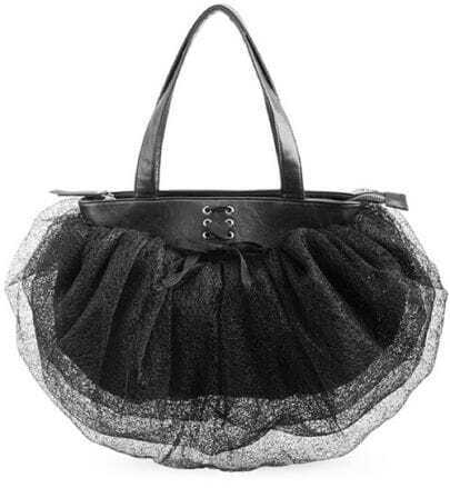 Black Bowtie Lace Tote Bag