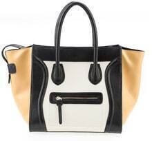 Camel Leather Smiling Tote Bag