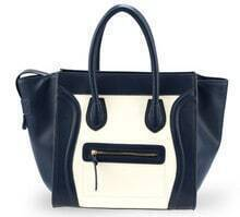 Blue Leather Smiling Tote Bag