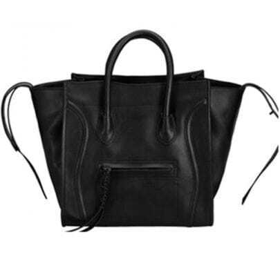 Black Leather Smiling Tote Bag