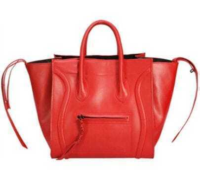 Red Leather Smiling Tote Bag