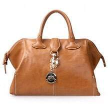 Coffee Vintage Leather Tote Bag