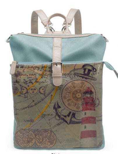 Blue Map Print Vintage Cross Body Bag