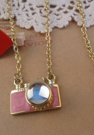 Camera With Gem Pendant Necklace