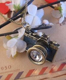 Vintage Camera With Gem Pendant Necklace