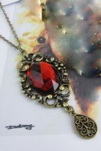 Simple Oval Pendant Necklace Red