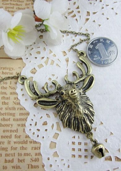 Vintage Deer Head And Small Bell Necklace