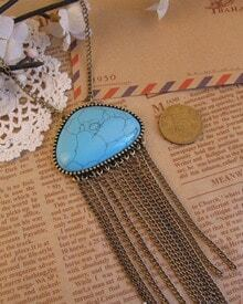 Vintage Blue Stone Tassel Necklace