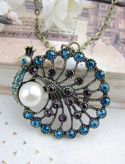 Vintage Big Bead Peacock Necklace