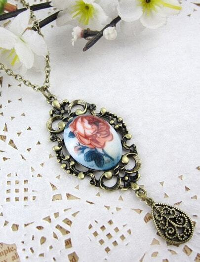 Rose Printed Pendant Necklace