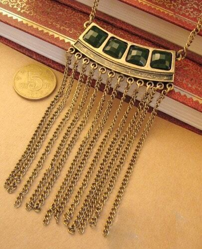 Vintage Tassel Stone Necklace Black