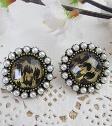 Vintage Beading Leopard Round Earring