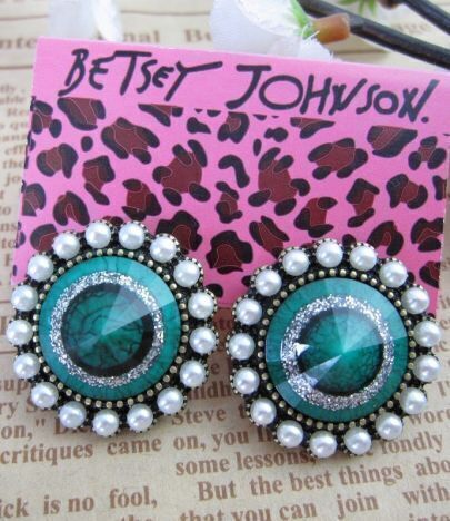 Vintage Beading Green Ring Round Earring