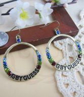 Mulitcolor Rhinestone Letter Printed Ring Earring