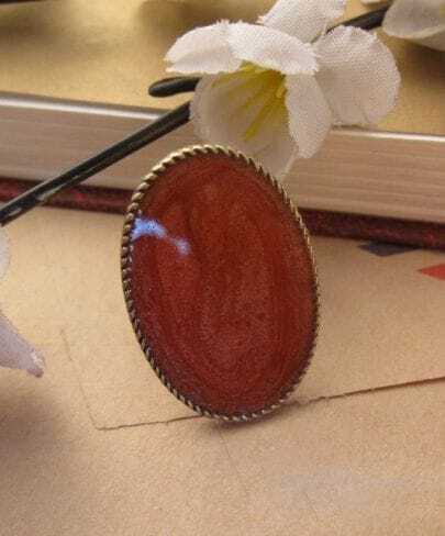 Vintage Simple Round Ring Orange