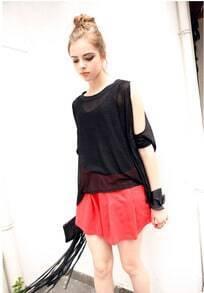 Solid Off The Shoulder Short-sleeved T-shirt Black