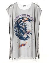 White Earth Printed Sleeveless T-shirt with Layer Tulle