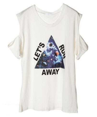 White LET'S RUN AWAY Galaxy Triangle Print Short Exposed Shoulder T-shirt