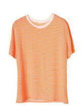 Striped Round Neck Short-sleeved T-shirt Orange