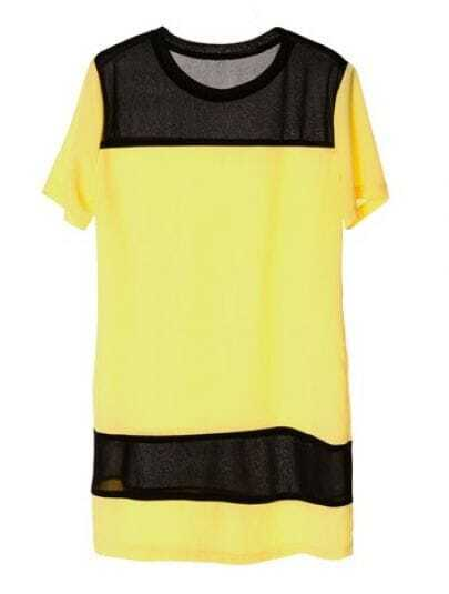 Short-sleeved Round Neck Color Matching Dress Yellow