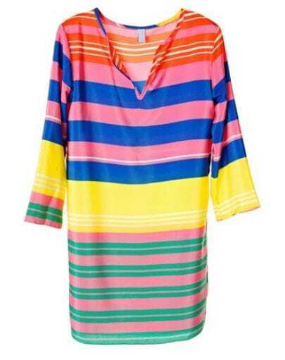 Colorful Striped V Neck Half-sleeved Dress