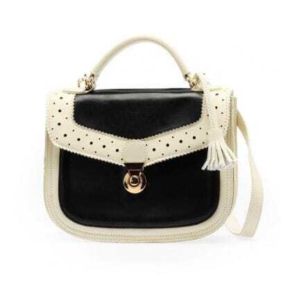 Black Vintage Piercing PU Cross Body Bag