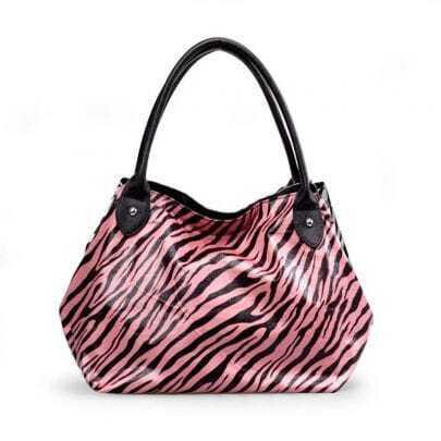 Pink Zebra Srtipe Tote Bag