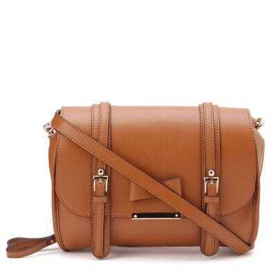 Brown Bowtie Leather Shoulder Bag