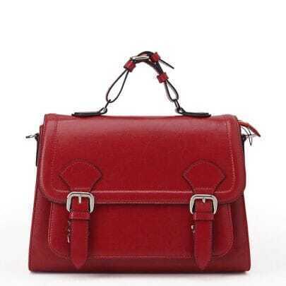 Vintage Red Briefcase Shoulder Bag