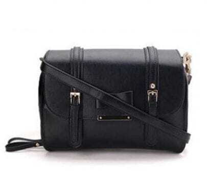 Black Bowtie Leather Shoulder Bag