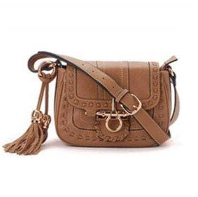 Kaki Vintage Purl Leather Shoulder Bag