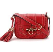 Red Vintage Purl Leather Shoulder Bag