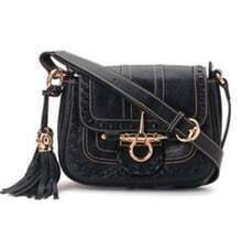 Black Vintage Purl Leather Shoulder Bag