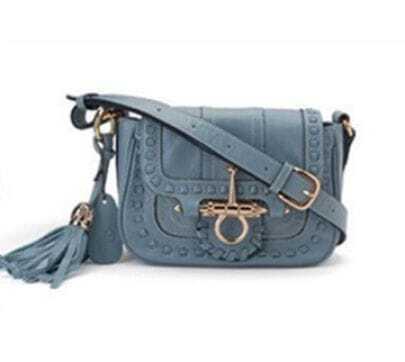 Blue Vintage Purl Leather Shoulder Bag