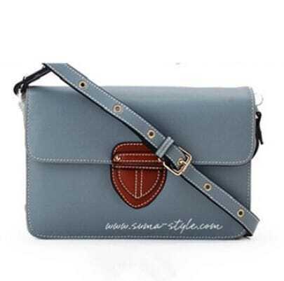 Grey Leather Cross Bady Bag