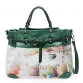 Green Vintage Print Shoulder Bag
