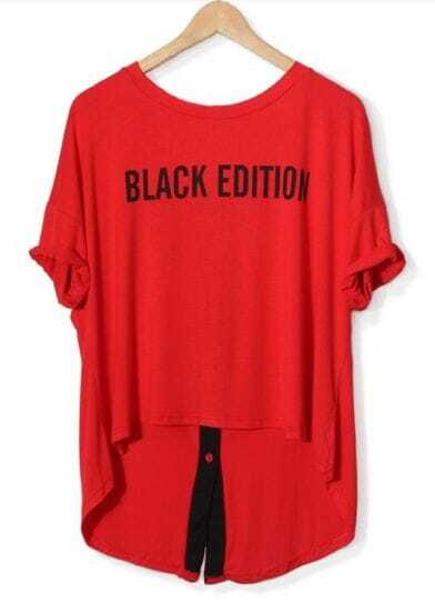 Red BLACK EDITION Print Short Sleeve T-shirt with Zipper Dipped Hem