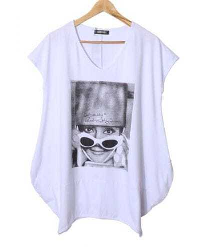 White Girl Face Print V-neck Short Sleeve Long T-shirt with Side Pockets