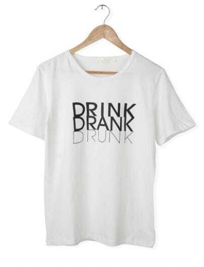 White Casual DRINK Printed Round Neck T-shirt