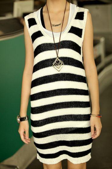 Striped Round Neck Sleeveless Dress Black
