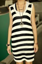 Striped Round Neck Sleeveless Dress Black