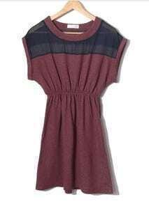 Color Matching Round Neck Waist Chiffon Dress Red