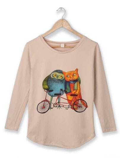 Apricot Owl Bike Round Neck Long Sleeve Curved Hem T-shirt