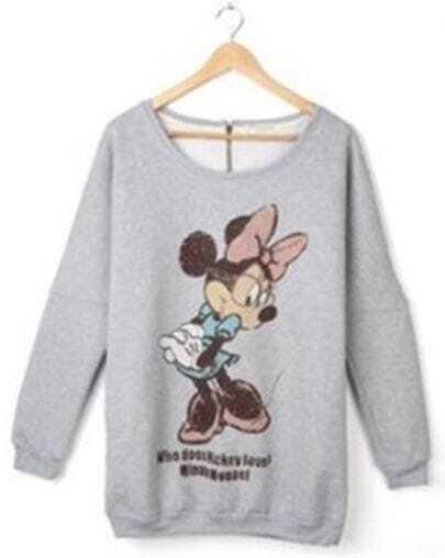 Light-grey Bowknot Mikey Print Long Sleeve T-shirt