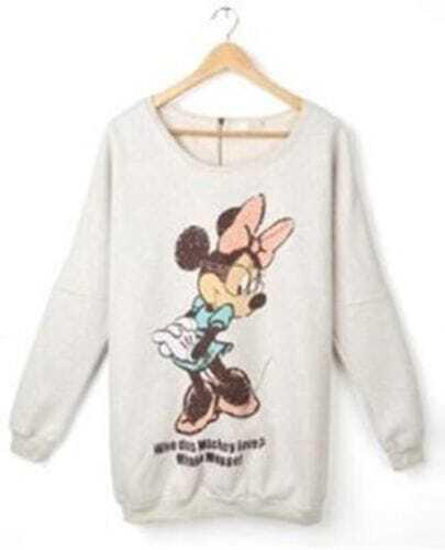 Light-apricot Bowknot Mikey Print Long Sleeve T-shirt