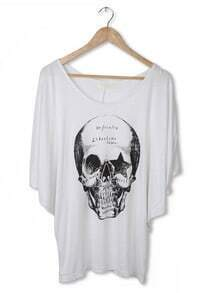 White Skull Print Split Sleeve Scoop Neck T-shirt
