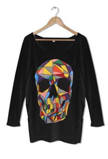 Black Colored Skull Print Long Sleeve T-shirt